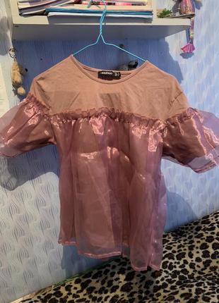 Футболка-блузка,рубашка с органзы,розовая,топ,блуза,школьная футболка,офис,корпоратив.