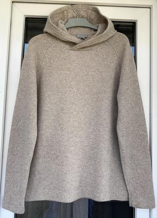 Cos оригинал 100% кашемир мягкий бежевый свитер-худи с капюшоном размер м,с