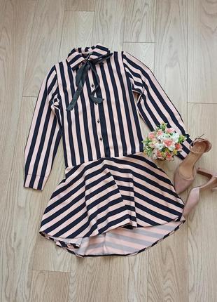 Трендовое платье в полоску, пышная юбка, р.м