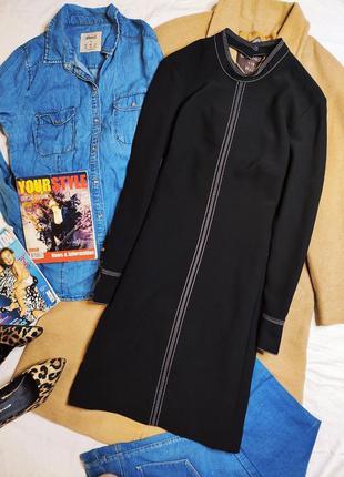 H&m платье новое чёрное в белую полоску классическое прямое трапеция базовое с рукавом