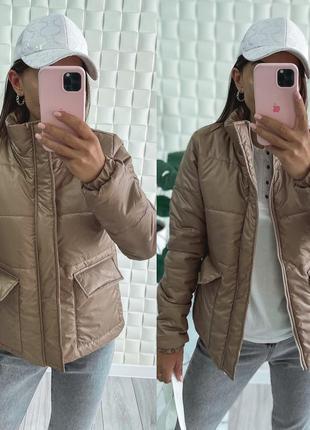 Куртка пиджак с накладными карманами на молнии синтепон