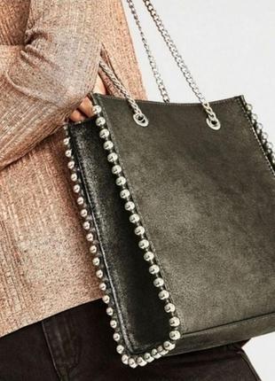 Шикарная замшевая сумка zara/ручки цепочки /на плечо
