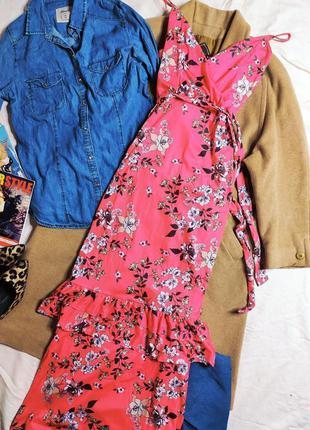 Boohoo платье длинное макси розовое в цветочный принт новое с поясом