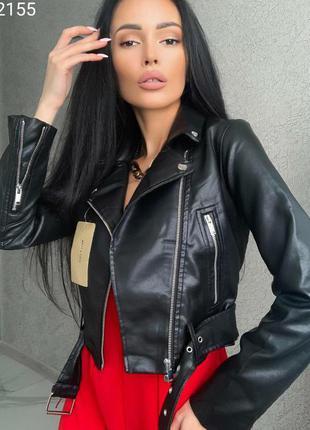 Куртка косуха черная из эко кожи