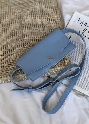 Голубая сумка на пояс голубой клатч поясной клатч на пояс клатч конверт голубая бананка