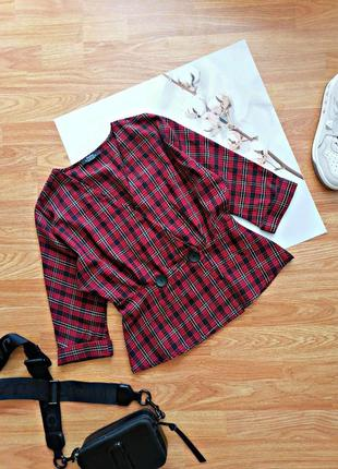 Женская строгая красная укороченная брендовая рубашка в шотландскую клетку bershka - размер 44