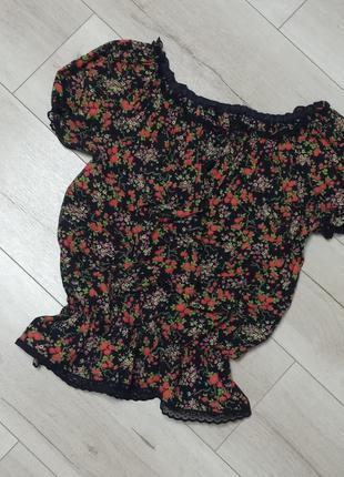 Блузка кофта в цветочный принт
