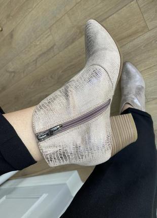 Пыльно розовые козаки, ботильоны, ботинки на среднем каблуке