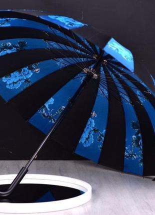 Зонт большой антишторм 24 спицы зонтик парасолька, трость синий, t055