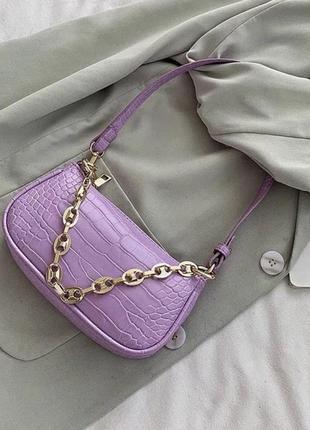 Сумка сумочка багет винтажная с ручкой лавандовая с цепочкой стильная новая