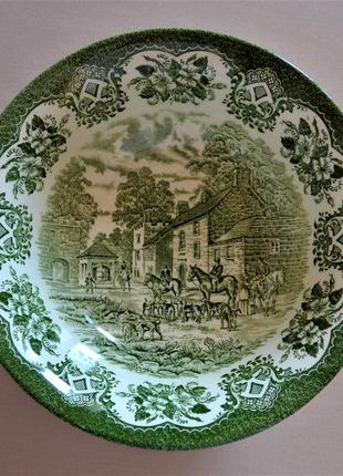 Винтажный салатник staffordshire. охотничий. клеймо. англия.