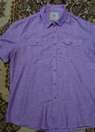 Фірмова англійська лляна рубашка сорочка burton,розмір xl-xxl.