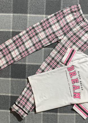 Женская хлопковая пижама в клетку с принтом f&f ( эф энд эф с-мрр оригинал разноцветная)