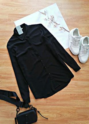 Женская черная базовая удлиненная новая брендовая рубашка maddison - размер 46