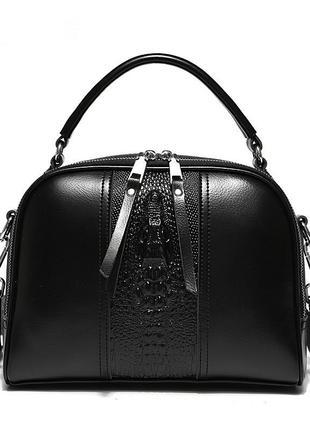 Женская кожаная чёрная сумка
