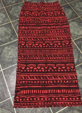 Длинная юбка в пол макси красная с узорами в индийском стиле 14р. new look