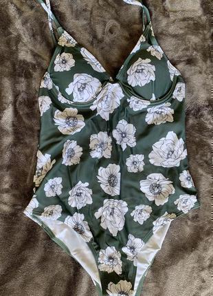 В наличии! сплошной купальник с цветами, красивый слитный купальник. зелений, смарагдовий.