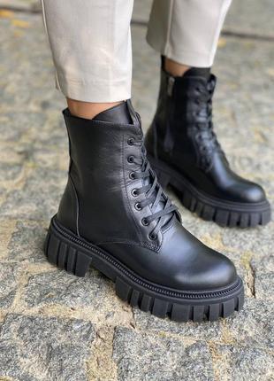 Стильные кожаные демисезонные ботинки