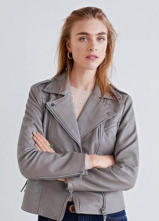 Натуральная серая кожаная куртка косуха от next