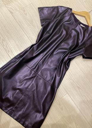 Кожаное платье прямое