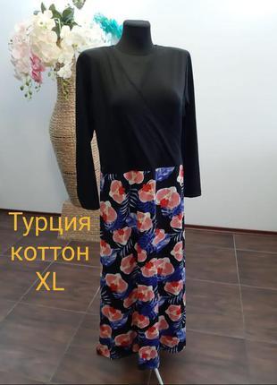 Платье в цветочный принт турция коттон xl