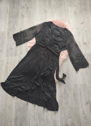 Черное миди платье с пайетками на запах