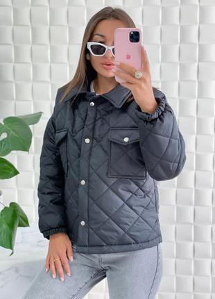 Стёганая куртка пиджак на кнопках накладные карманы