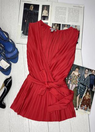 Новая красная блуза на запах с поясом блузка плиссе xs s 40 42 с v вырезом