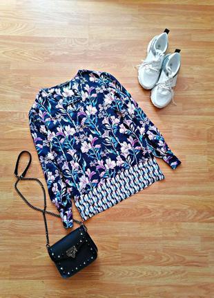 Женская свободная нарядная легкая брендовая синяя блуза в цветы esprit - размер 44-46