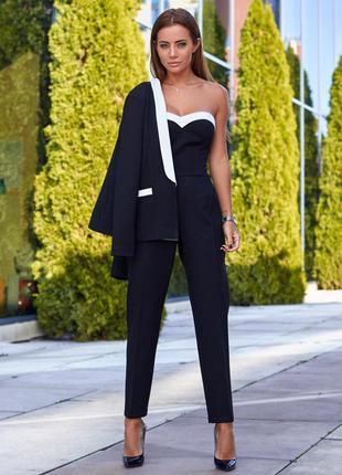 Костюм двойка женский, брючный комбинезон и пиджак, черный, джерси,  с, м, л, 42, 44, 46