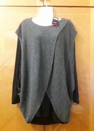 Новый брендовый стильный свитер двухслойный   джемпер  кофта р xxl