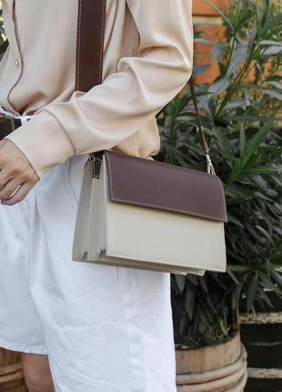 Бежевый клатч кросс боди на широком ремешке коричневая сумка через плечо клатч через плечо