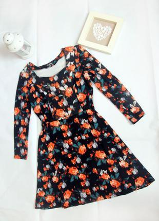 Платье с длинным рукавом с цветочным принтом