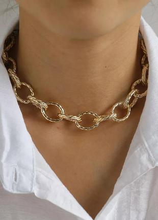 Колье ожерелье чокер цепь с большими крупными масивными звеньями