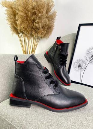 36-40 рр деми ботинки на низком ходу натуральный лак