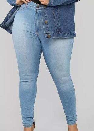 Мегаклассные стрейчевые джинсы скини на пышные формы  denim co...