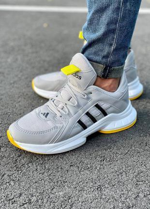 Мужские серые с желтым осенние демисезонные кроссовки adidas🆕повседневные адидас