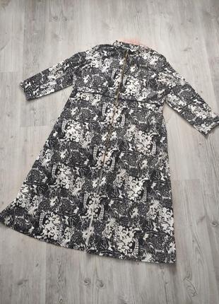 Макси длинное платье-рубашка черно-белое