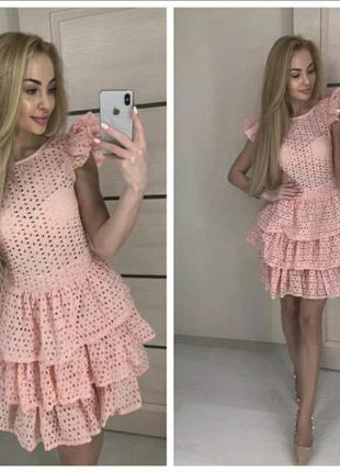 Летнее платье прошва с воланами 1027, размер 42-44, нежно-розовый