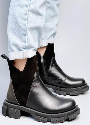 Ботинки натуральная кожа замша черный деми