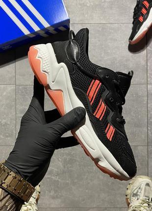 Женские легкие черно-розовые кроссовки adidas ozweego 🆕дышущие адидас озвиго