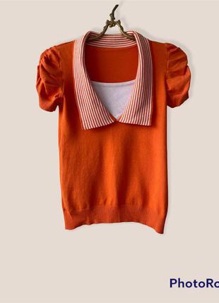 Трикотажная футболочка оранжевая с воротником