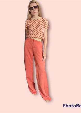 Вискоза +лён. оранжевые широкие летние штаны laura clement