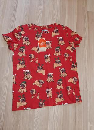 Новогодняя футболка мопс собачки