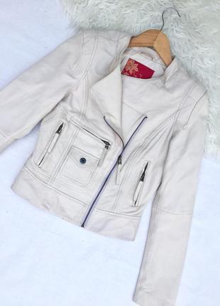 Кожаная куртка косуха бежевая айвори ручная работа размер xs 34 s 36