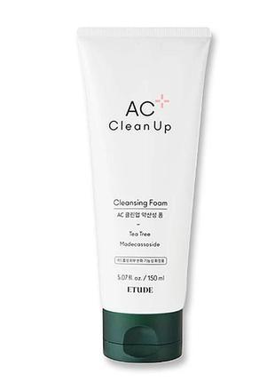 Etude house ac clean up daily cleansing foam очищающая пенка для проблемной кожи