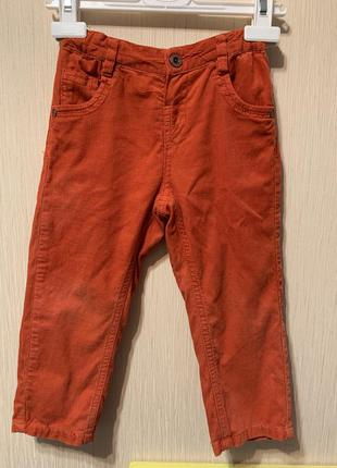 Брюки штаны микровельвет кирпичного цвета на осень