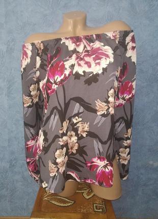 Шикарная шифоновая блуза с открытыми плечами