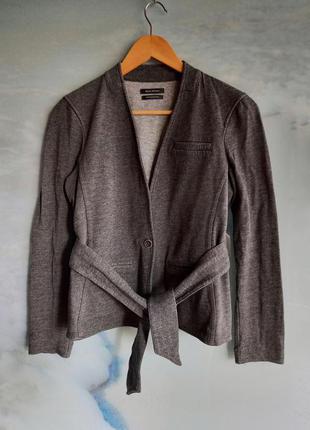 Серый жакет по фигуре на поясе на запах шерсть marc o'polo