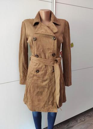 Пальто тренч замшевое коричневое с поясом и карманами zero s m